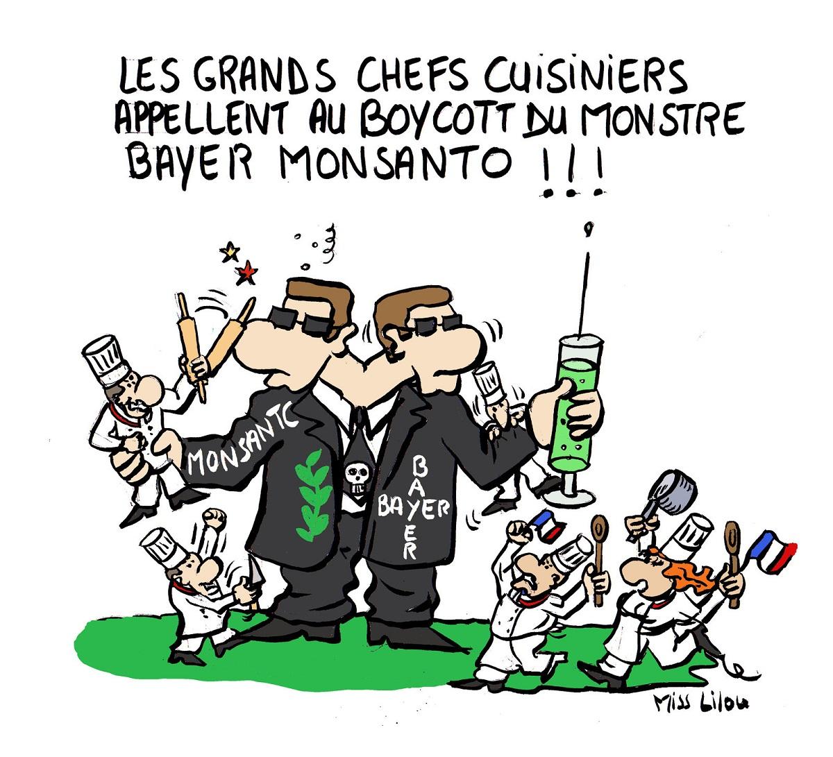 dessin humoristique du monstre Bayer-Monsanto combattu par les chefs cuisiniers Français