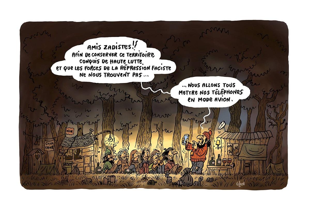 dessin humoristique d'un groupe de zadistes défendant leur territoire