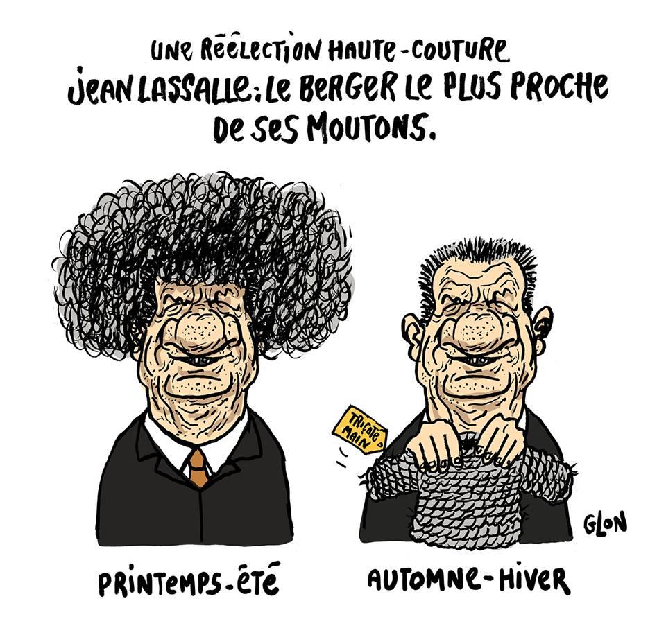 dessin humoristique de Jean Lassalle qui se tricote un pull avec ses cheveux