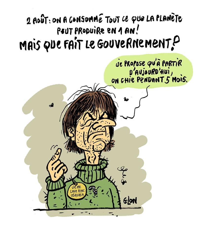 dessin drôle de Nicolas Hulot qui propose de nous faire chier