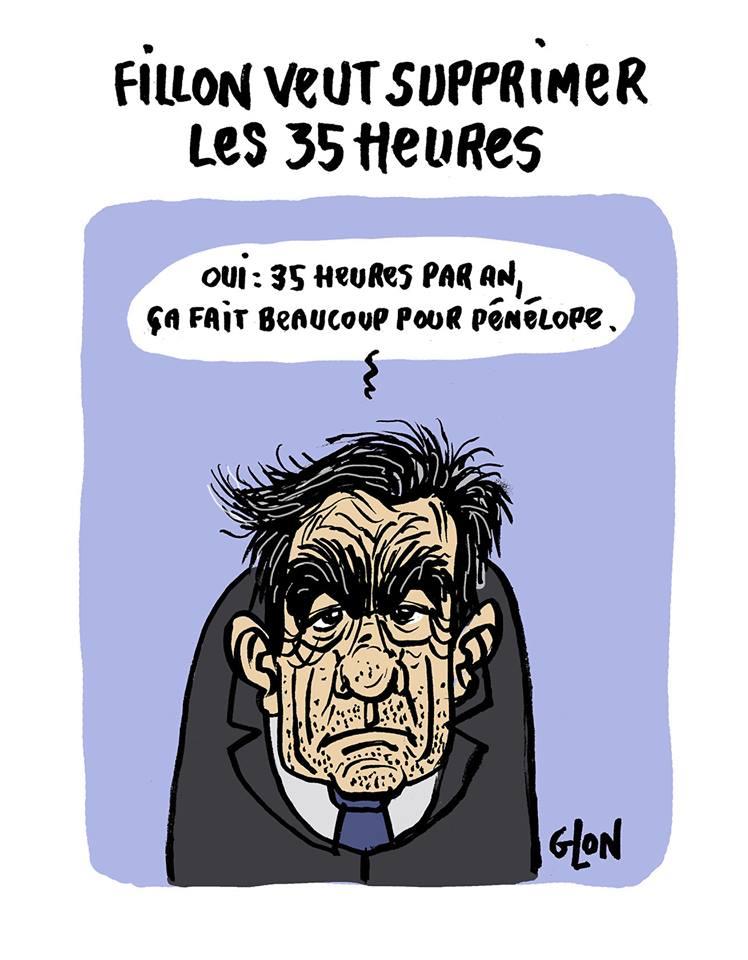 dessin drôle de François Fillon parlant de la suppression des 35 heures