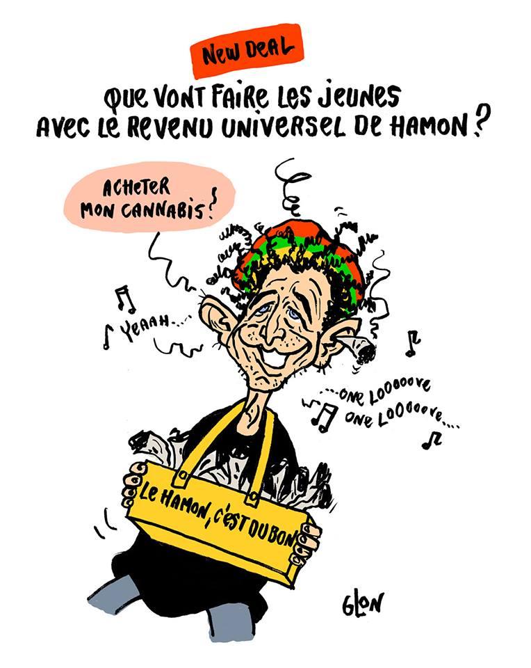 dessin humoristique de Benoît Hamon en vendeur de cannabis