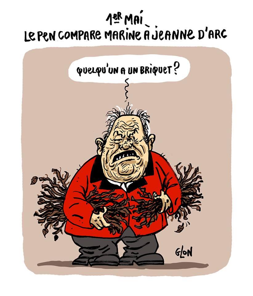dessin humoristique de Jean-Marie Le Pen transportant des fagots de bois pour brûler sa fille Marine Le Pen