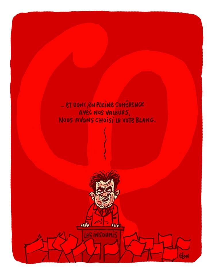 dessin drôle de Jean-Luc Mélenchon, rouge parmi les rouges, qui appelle au vote blanc
