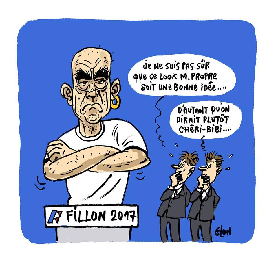 dessin drôle de François Fillon avec le look M. Propre