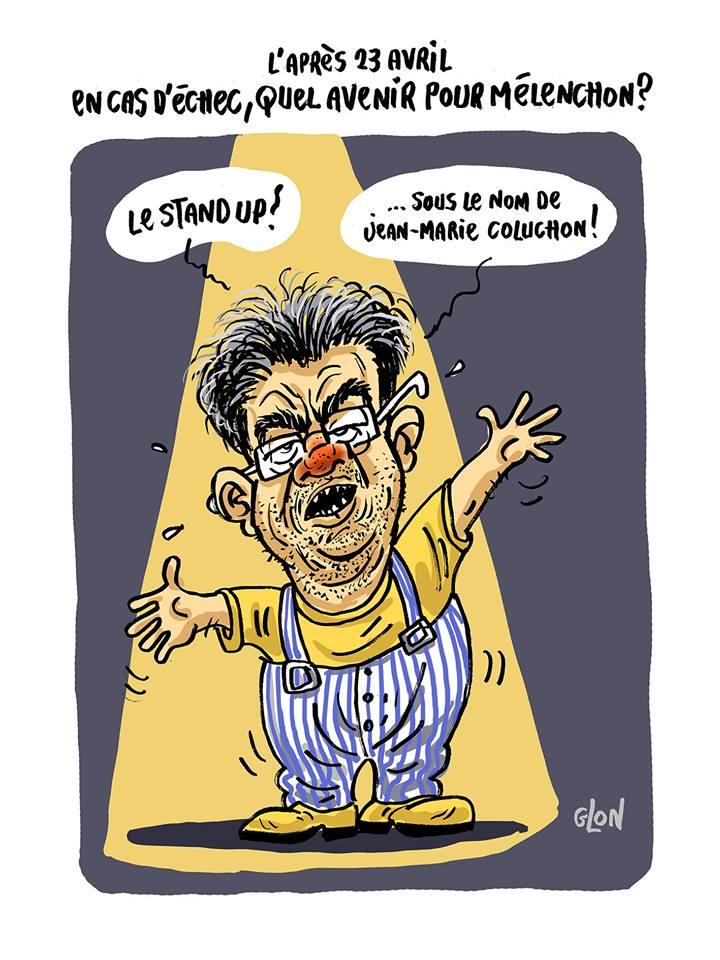 dessin humoristique de Jean-Luc Mélenchon déguisé en Coluche