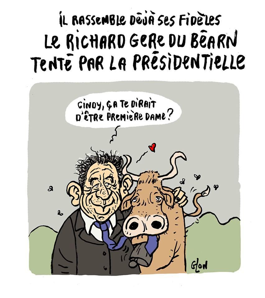 dessin humoristique de François Bayrou avec une vache