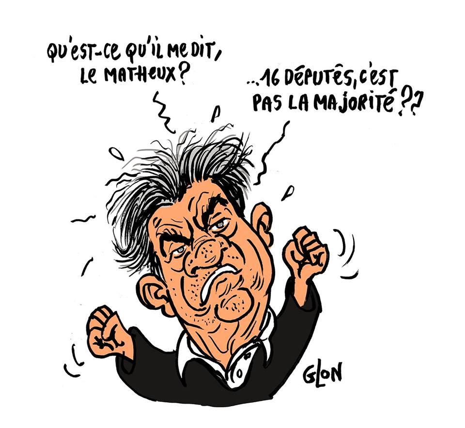 dessin humoristique de Jean-Luc Mélenchon qui parle des seize députés de la France Insoumise