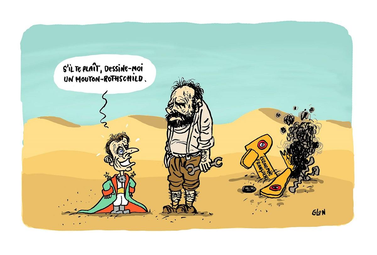 dessin drôle d'Emmanuel Macron en Petit Prince qui demande à Edouard Philippe de lui dessiner un Mouton-Rothschild