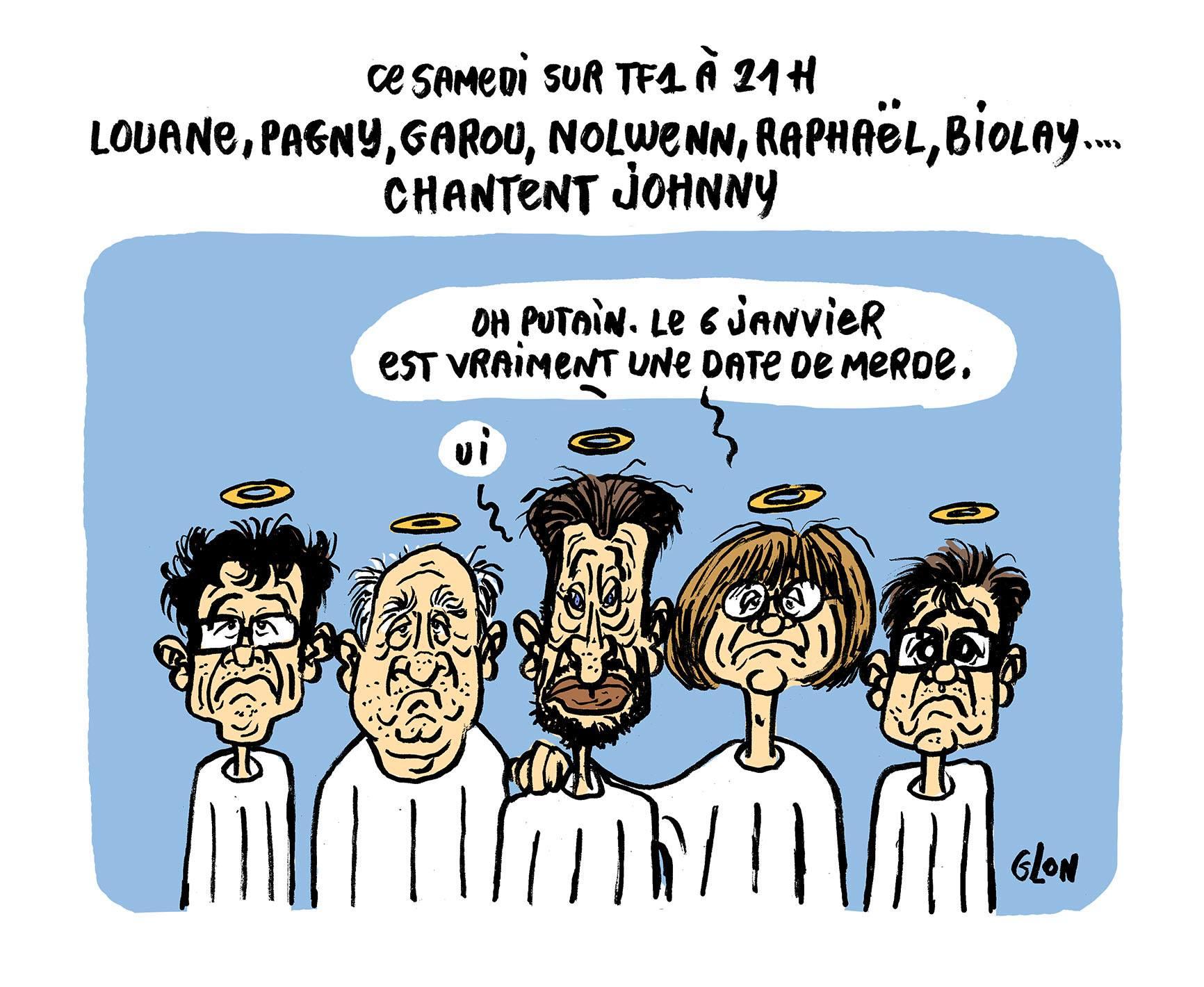 dessin humoristique de Johnny Hallyday et l'équipe de Charlie Hebdo au Paradis consterné par un hommage chanté sur TF1