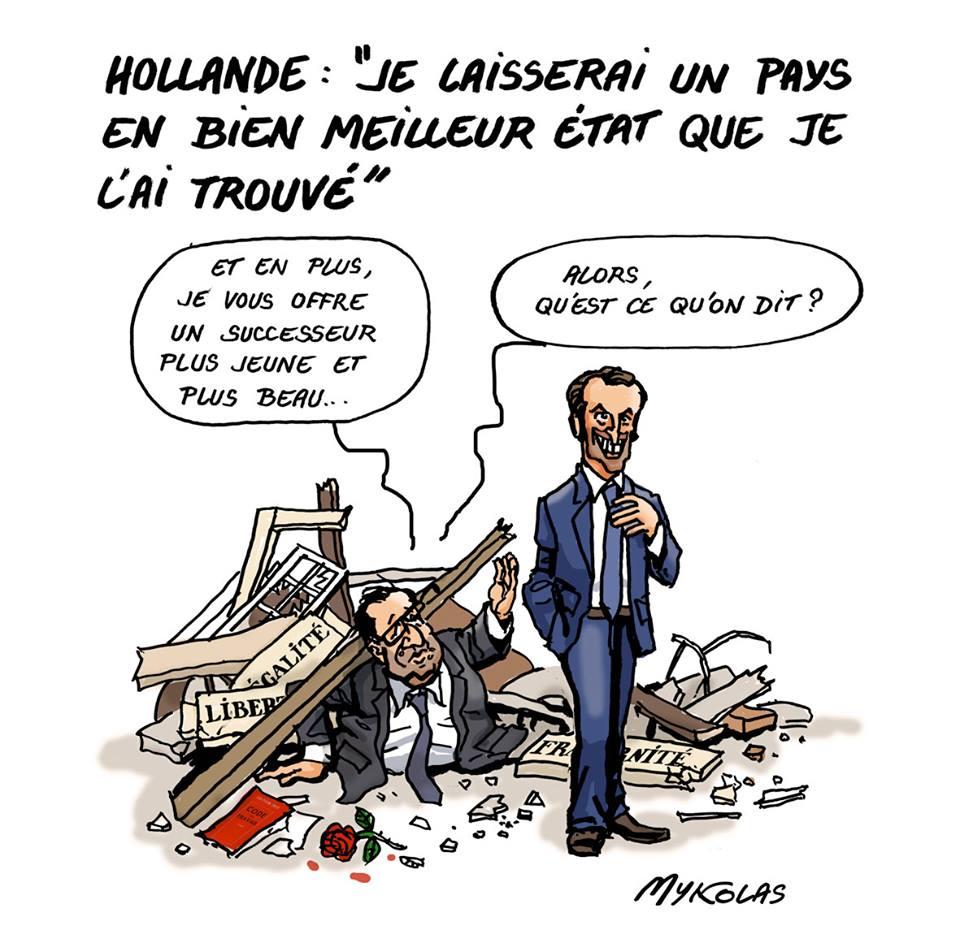 dessin humoristique de François Hollande sous les ruines de la France présentant Emmanuel Macron