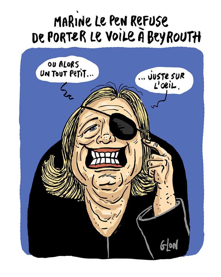 dessin drôle de Marine Le Pen avec un voile sur l'oeil