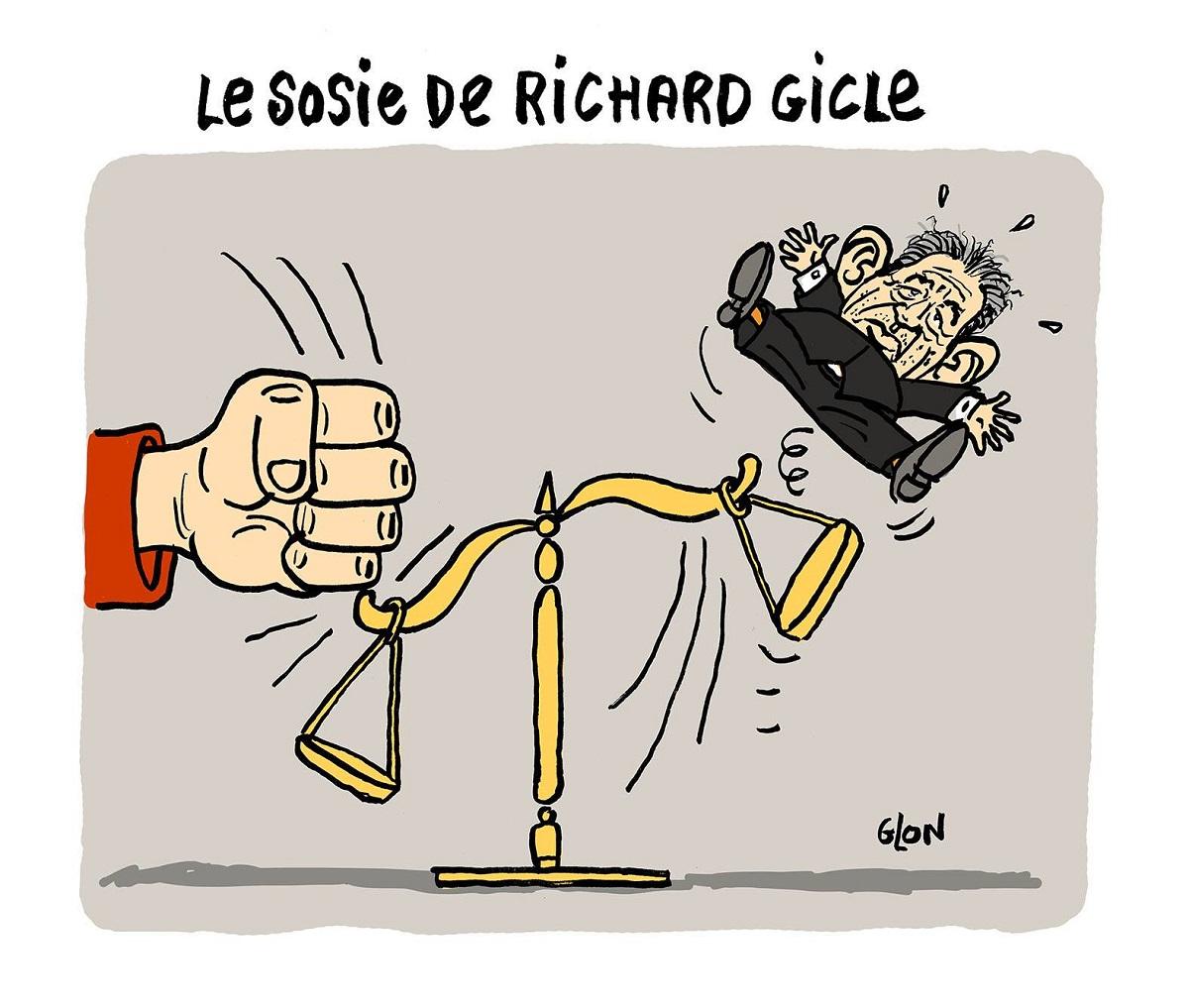 dessin humoristique de la balance de la justice éjectant François Bayrou