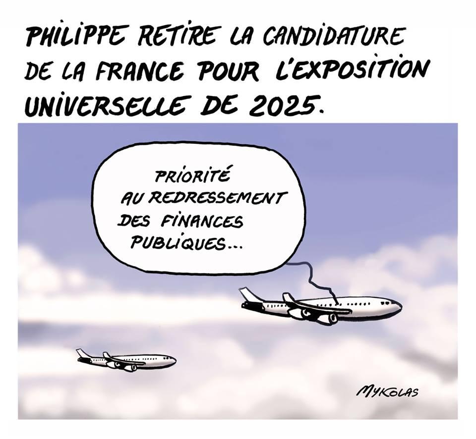 dessin humoristique de l'avion privé d'Edouard Philippe