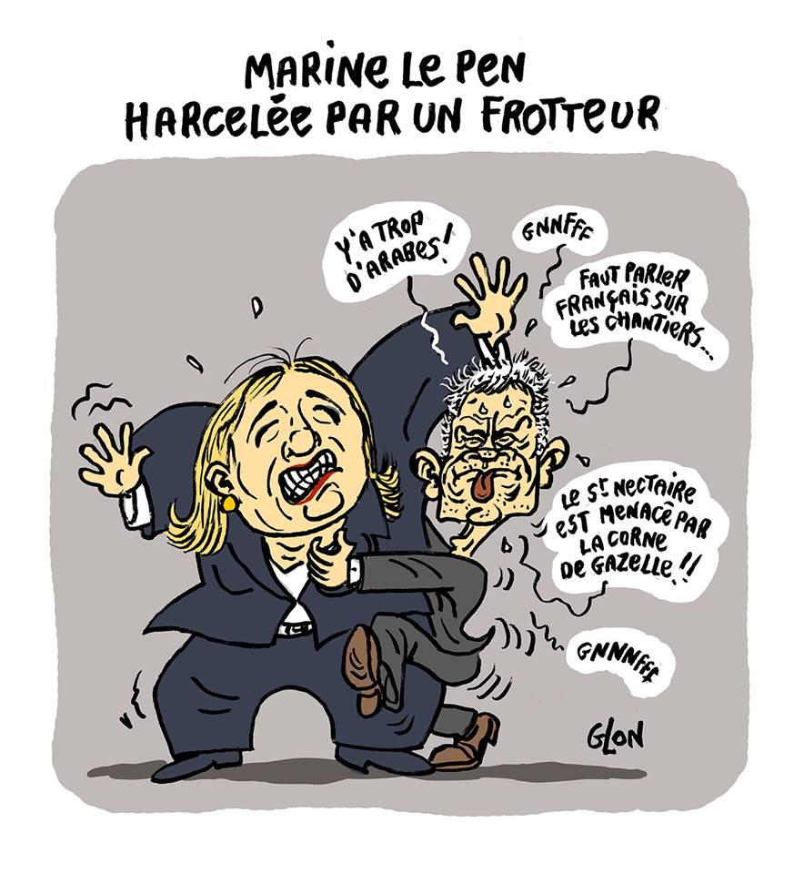 dessin drôle de Laurent Wauquiez en train de se frotter contre Marine Le Pen