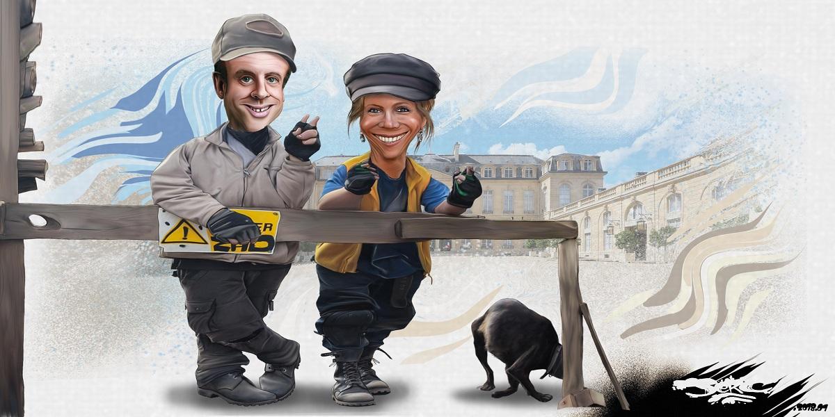 dessin drôle de Brigitte et Emmanuel Macron en zadistes occupant le Palais de l'Elysée