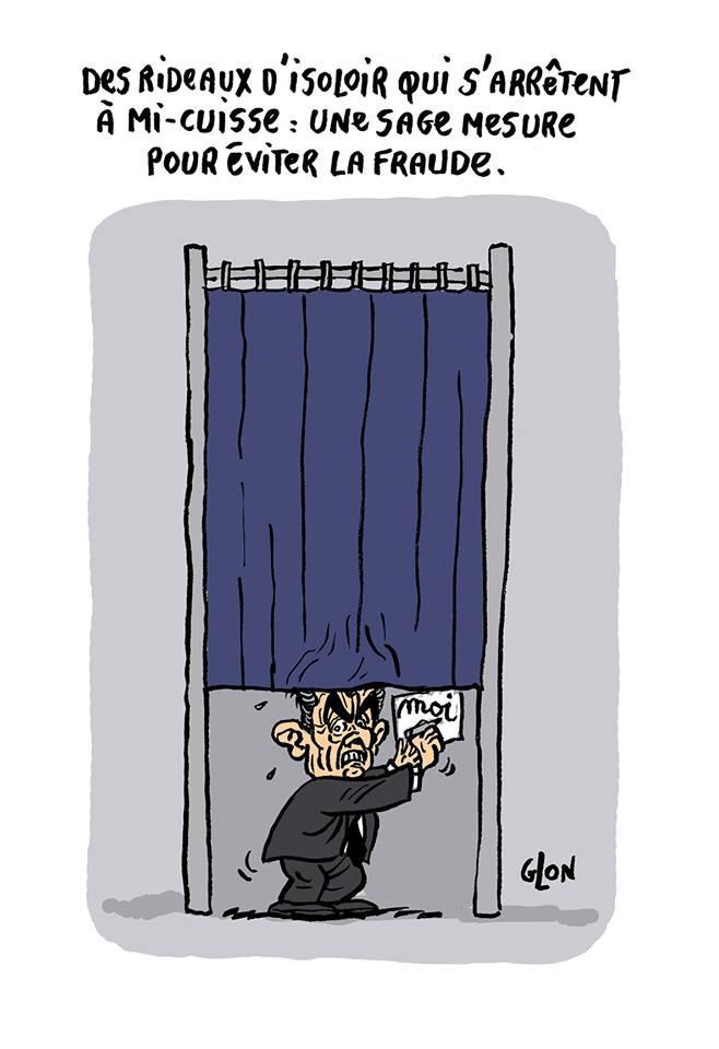 dessin humoristique de Nicolas Sarkozy dans un isoloir