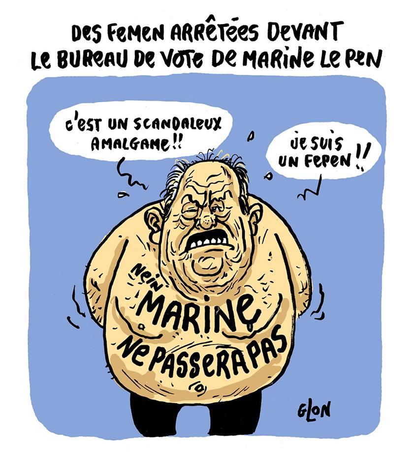 dessin humoristique de Jean-Marie Le Pen torse nue devant le bureau de vote de Marine Le Pen