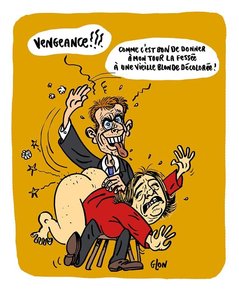 dessin humoristique d'Emmanuel Macron en train de donner une fessée à Marine Le Pen