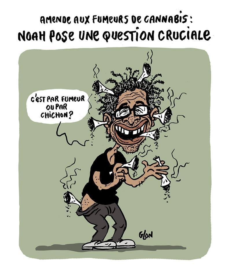 dessin humoristique de Yannick Noah bardé de joints