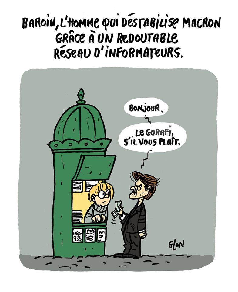 dessin humoristique de François Baroin qui demande le Gorafi à un kiosque à journaux