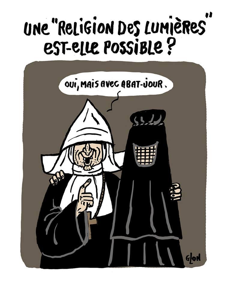dessin humoristique de religieux catholique et musulmans