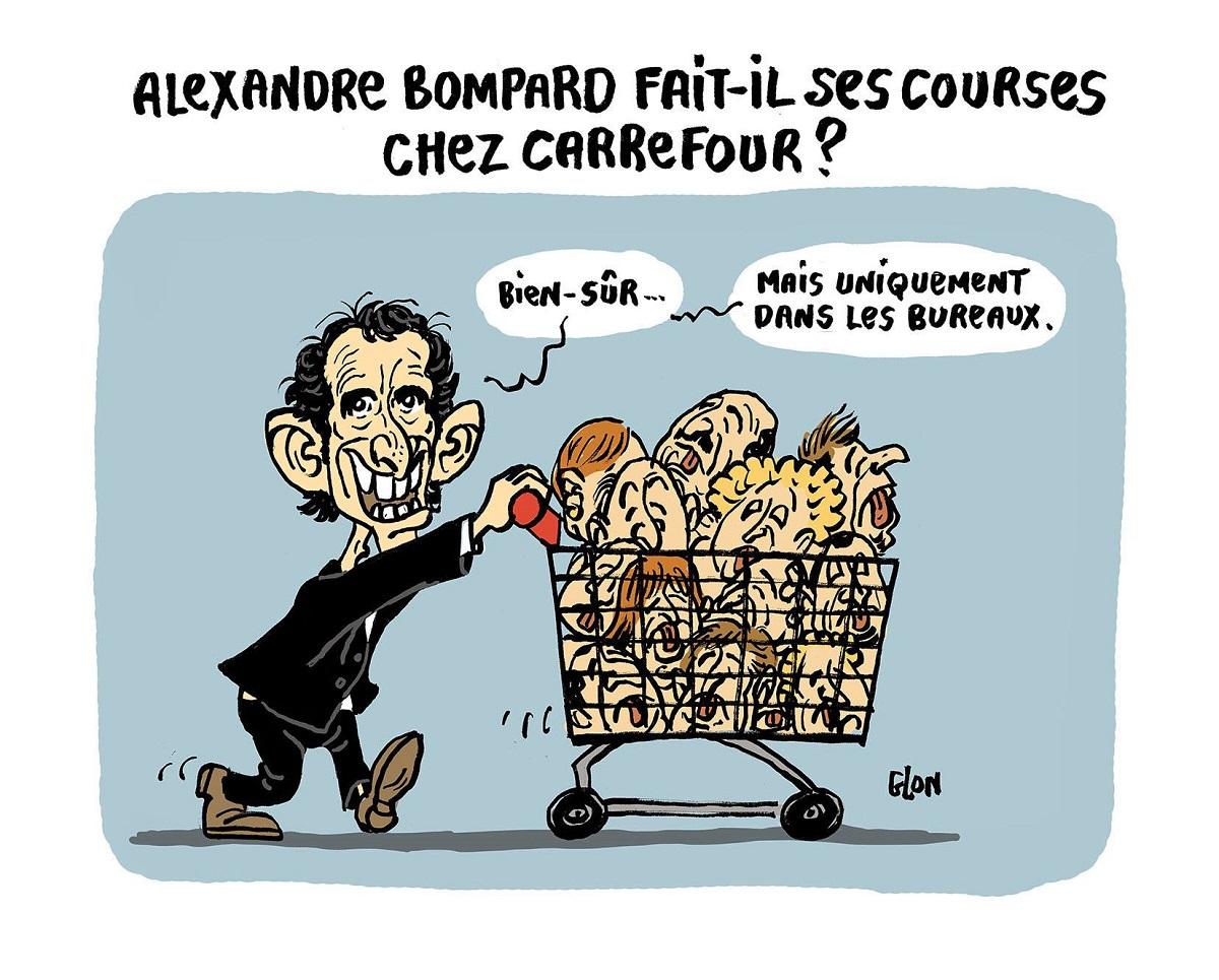 dessin humoristique d'Alexandre Bompard avec un plein caddie de têtes d'employés