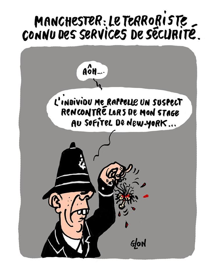 dessin humoristique d'un policier anglais qui tient la petite bite du terroriste de Manchester