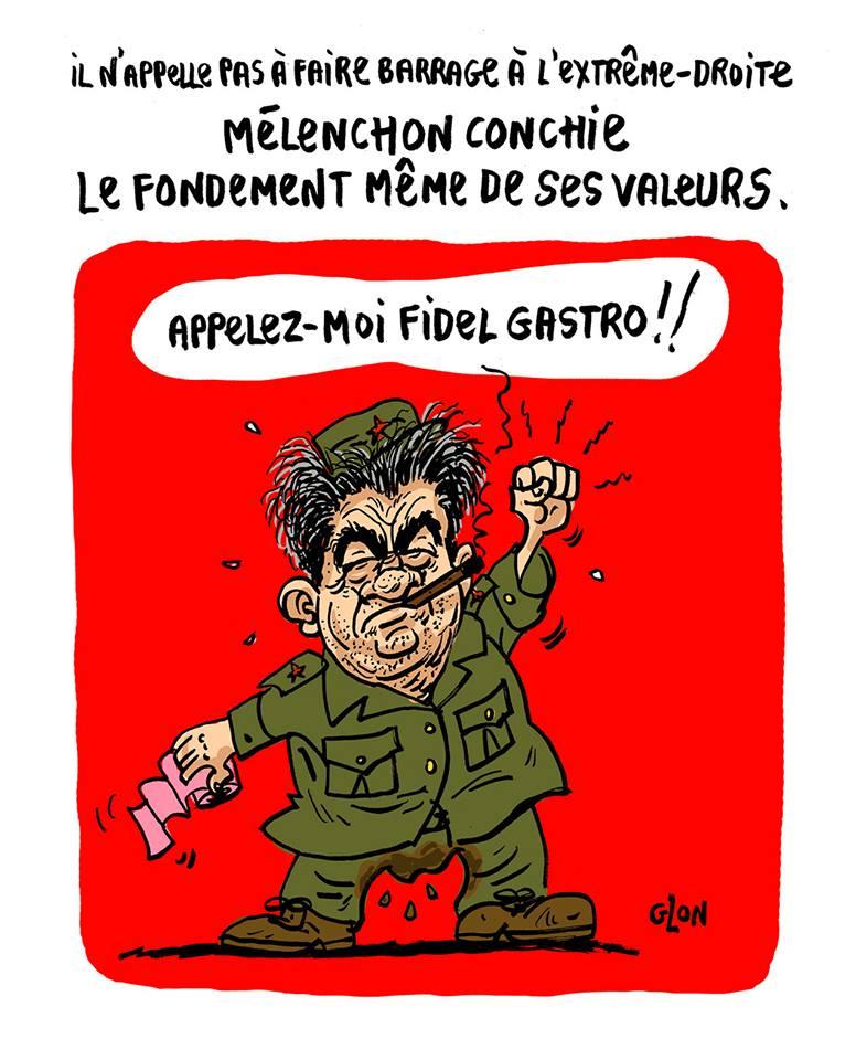 dessin humoristique de Jean-Luc Mélenchon en Fidel Castro atteint d'une sévère gastro