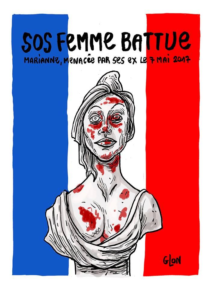 dessin humoristique de Marianne en femme battue pour les élections