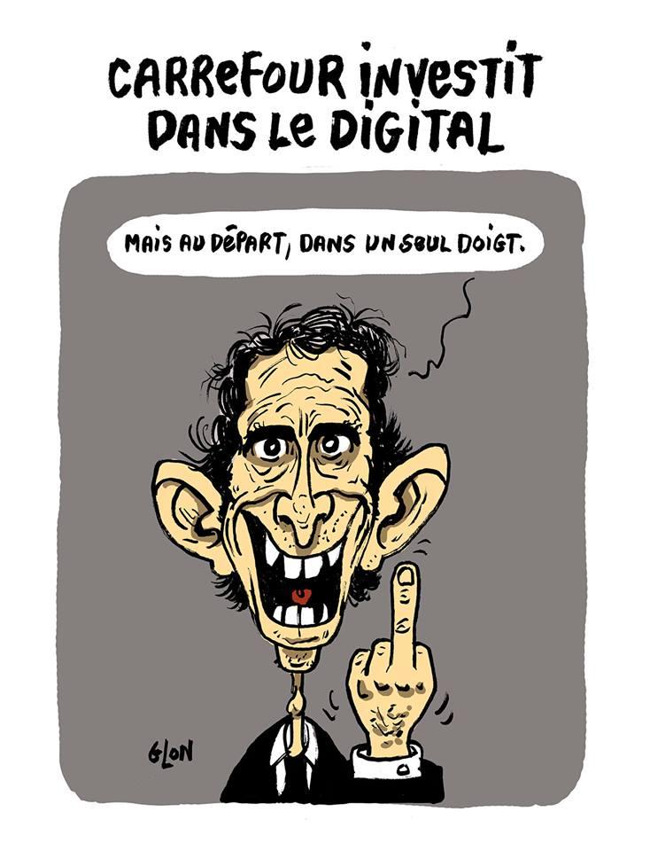 dessin humoristique d'Alexandre Bompard faisant un doigt d'honneur à ses employés