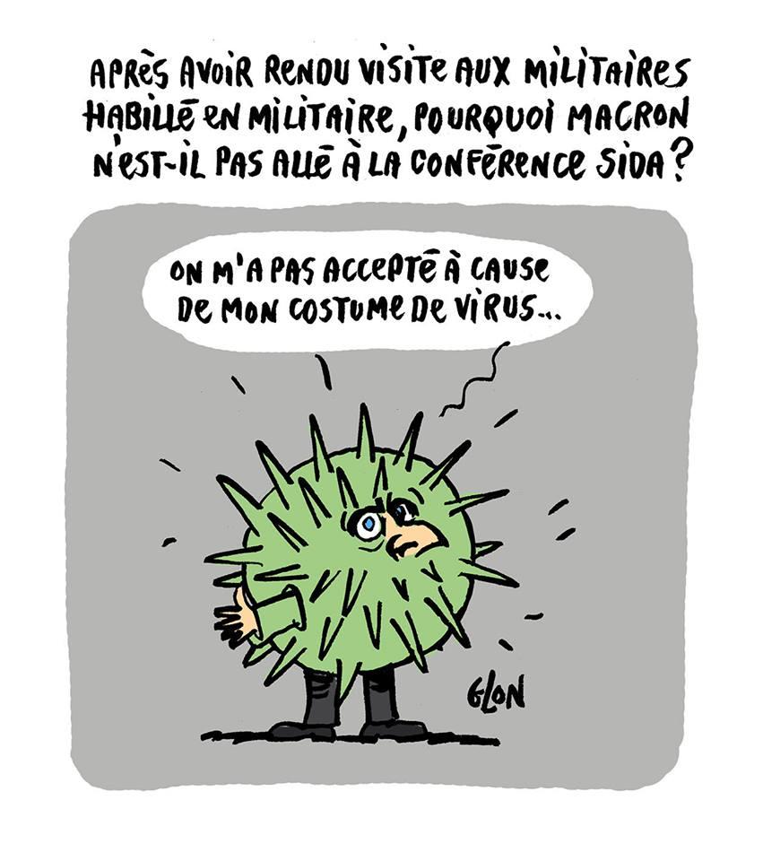 dessin drôle d'Emmanuel Macron déguisé en virus du Sida