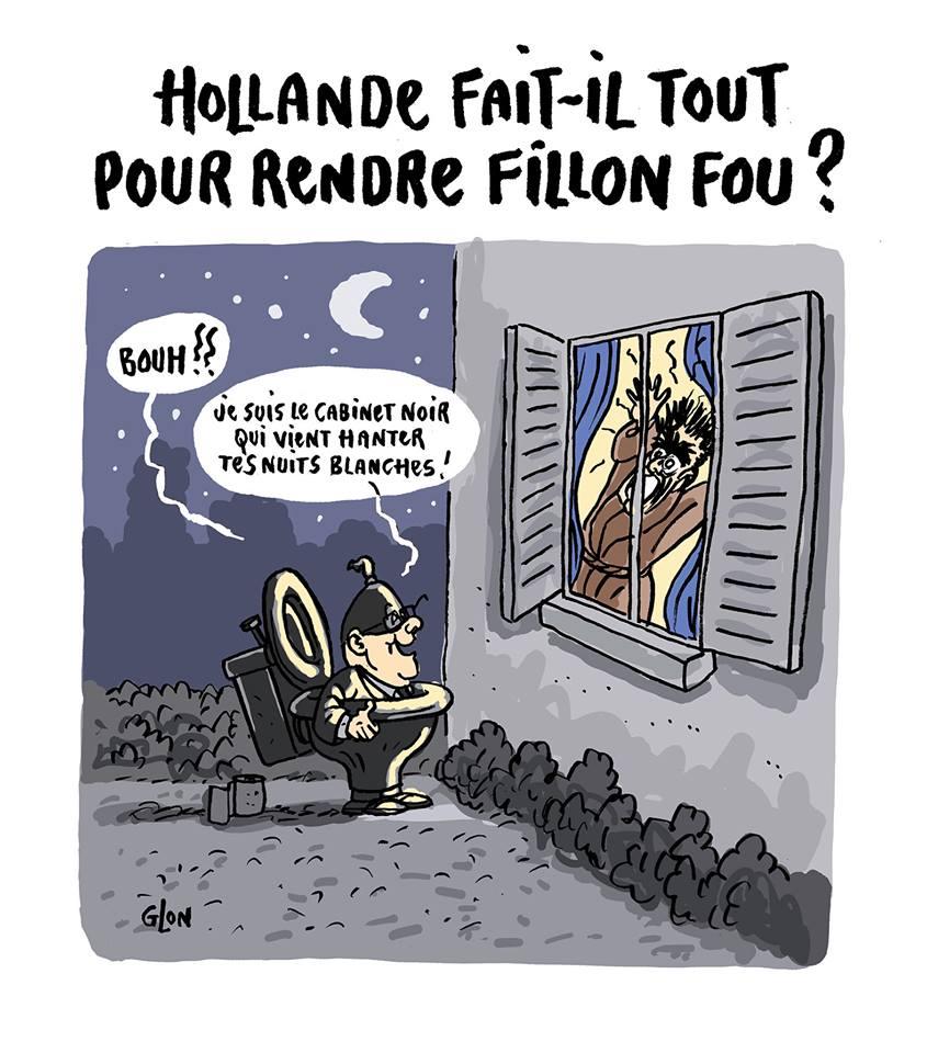 dessin humoristique de François Hollande déguisé en cabinet noir qui vient terroriser François Fillon