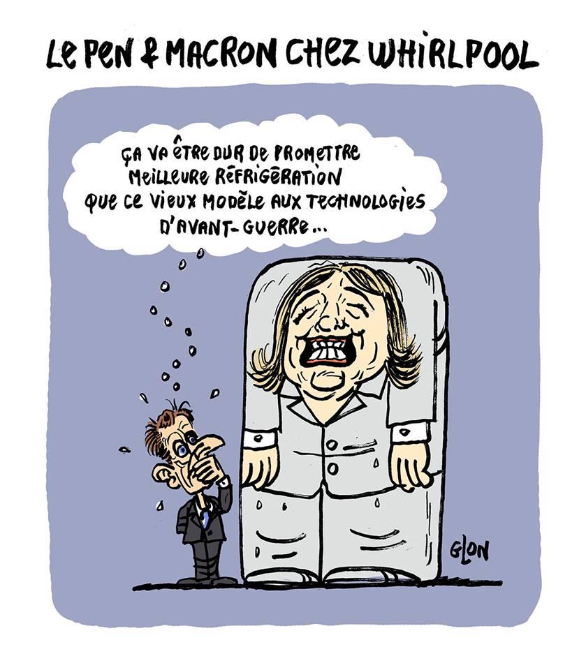 dessin humoristique d'Emmanuel Macron en train de jauger la technologie de Marine Le Pen
