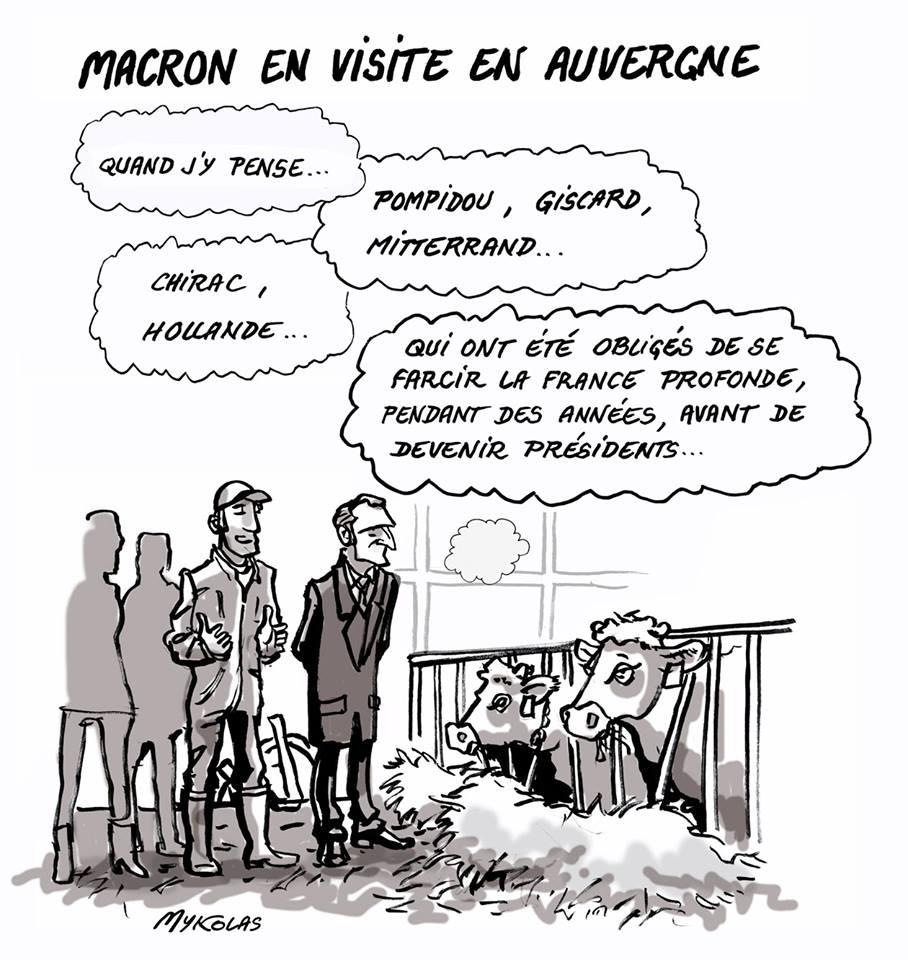 dessin humoristique d'Emmanuel Macron en train de visiter un élevage de bovins en Auvergne