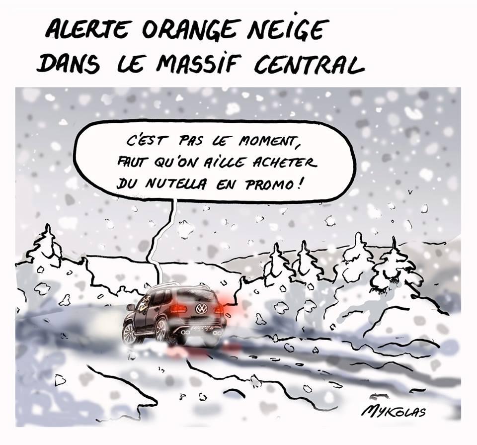 dessin humoristique d'un conducteur sous la neige dans le Massif Central qui veut acheter du Nutella en promo