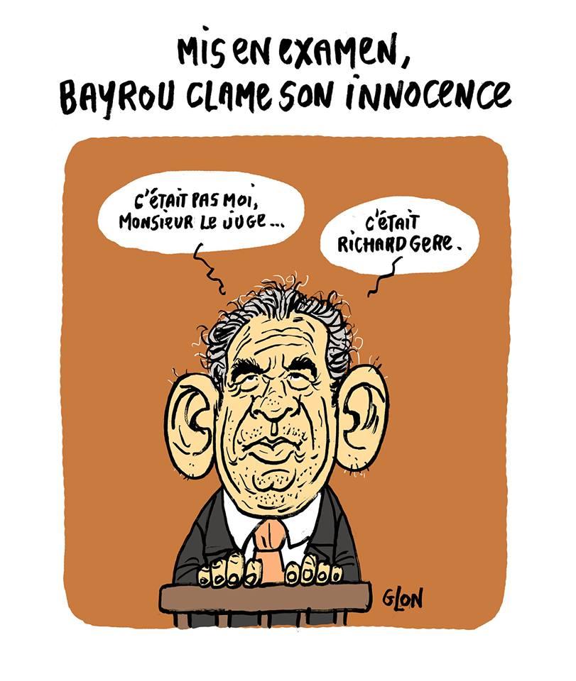 dessin humoristique de François Bayrou clamant son innocence au tribunal