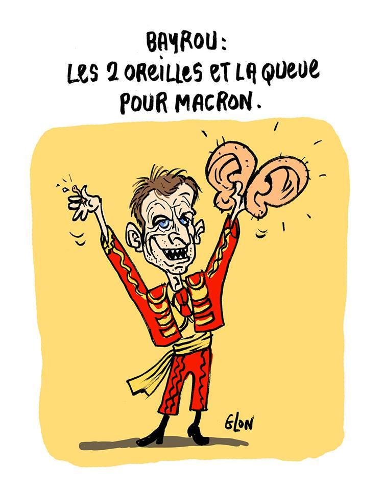dessin humoristique d'Emmanuel Macron en torero qui présente les deux oreilles et la queue de François Bayrou