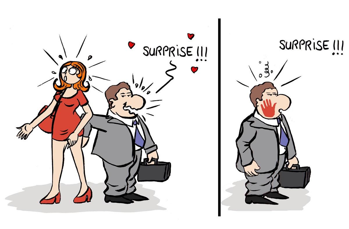 dessin humoristique d'un homme qui met la main aux fesses d'une femme et qui se prend une baffe