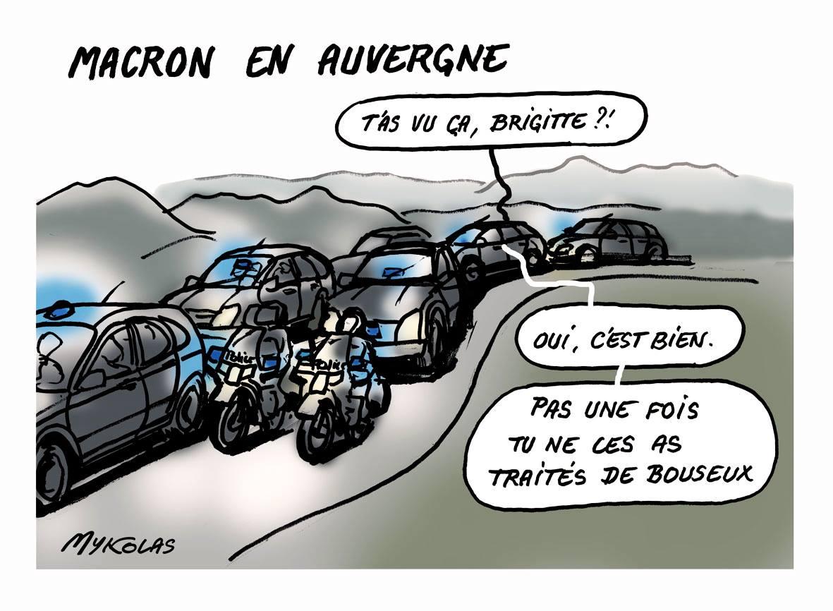 dessin humoristique d'Emmanuel Macron de retour de son voyage en Auvergne