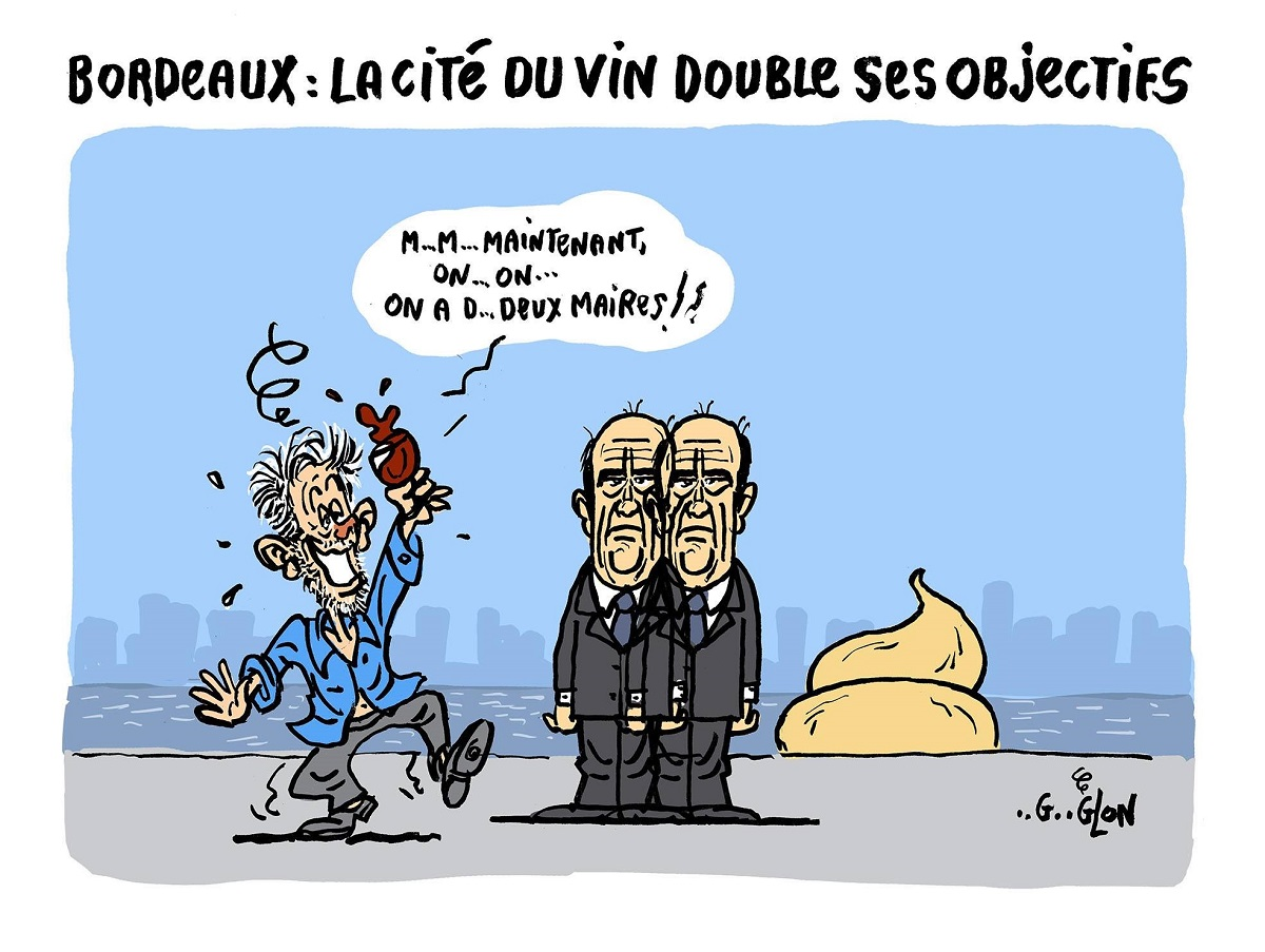 dessin humoristique d'un passant ivre qui voit un double Alain Juppé