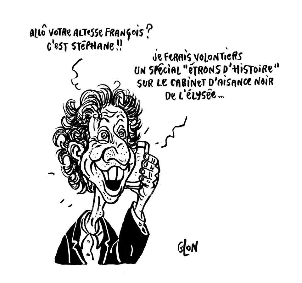 dessin humoristique de Stéphane Bern souhaitant faire une émission sur le cabinet noir de l'Elysée