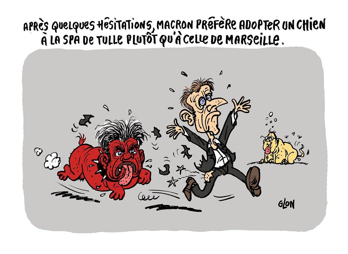 dessin humoristique d'Emmanuel Macron poursuivi par le chien méchant Mélenchon