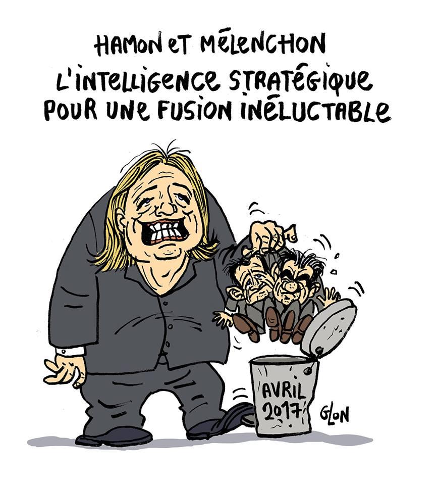 dessin humoristique de Marine Le Pen mettant Benoît Hamon et Jean-Luc Mélenchon à la poubelle