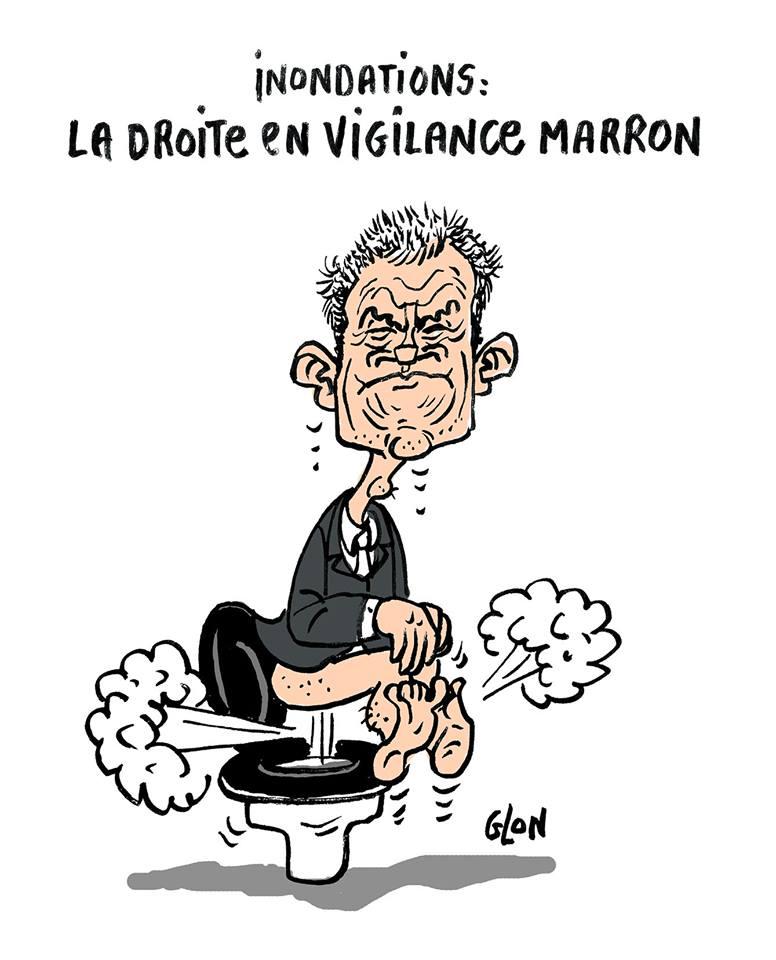 dessin drôle de Laurent Wauquiez qui pète sur ses toilettes