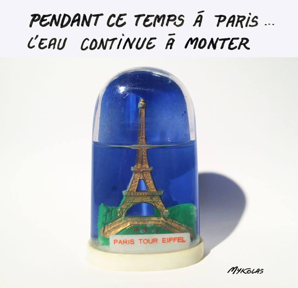 dessin humoristique de la Tour Eiffel sous les eaux