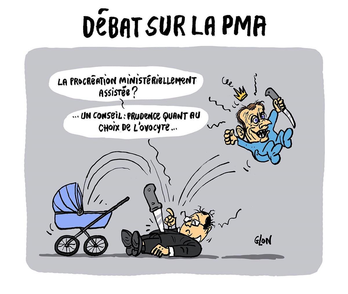 Dessin humoristique du bébé Emmanuel Macron qui assassine papa François Hollande