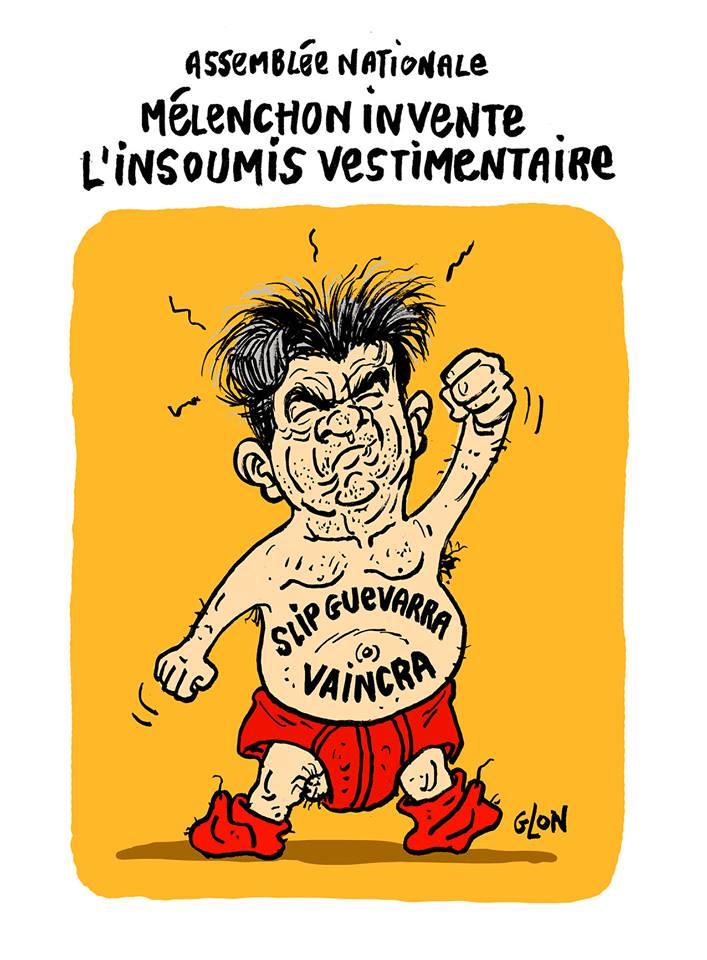 dessin humoristique de Jean-Luc Mélenchon en sous-vêtements
