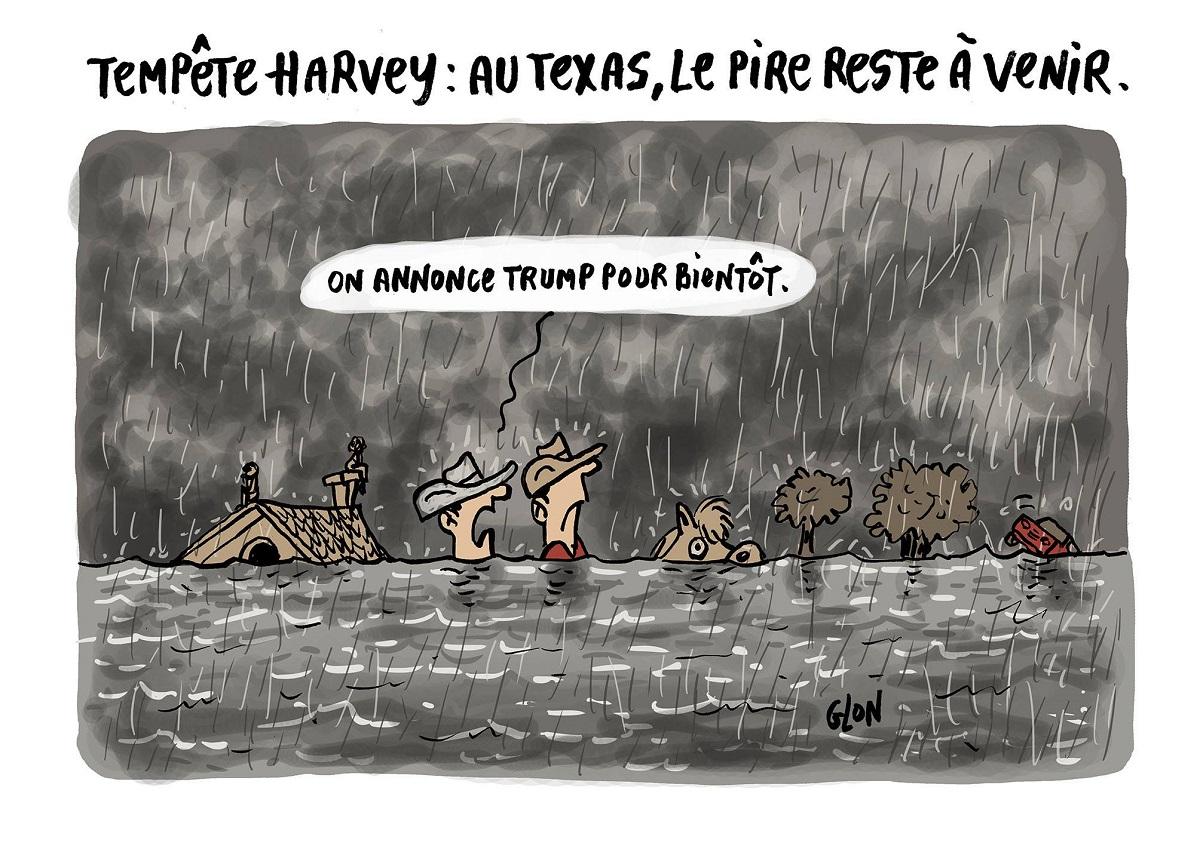dessin drôle de deux texans qui parle de l'arrivée de Donald Trump suite au passage de la Tempête Harvey