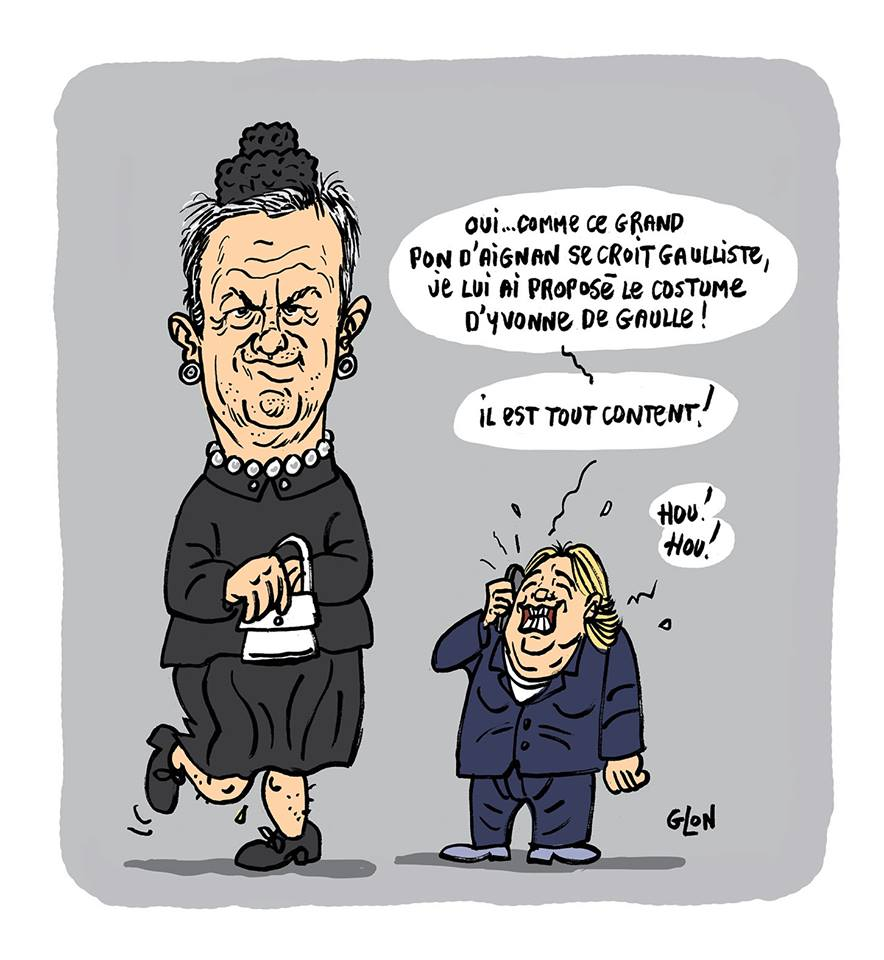 dessin humoristique de Marine Le Pen et Nicolas Dupont-Aignan déguisé en Yvonne De Gaulle
